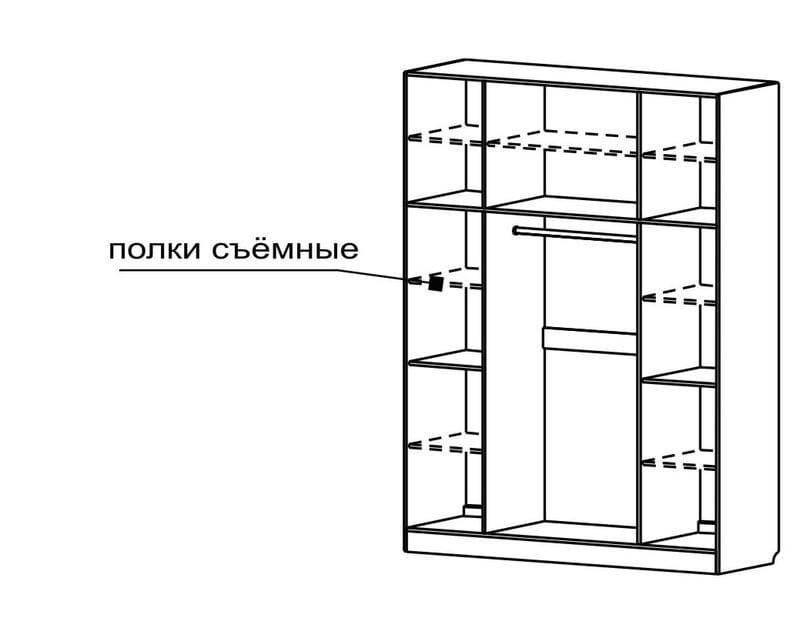 Шкаф для платья и белья 4-х дверный с 2-мя зеркалами С 400/1 М
