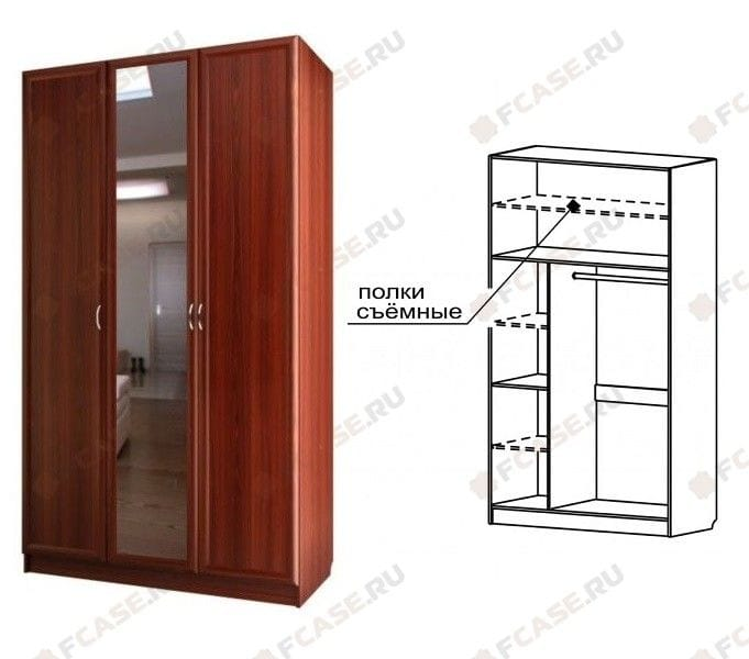 Шкаф для платья и белья 3-х дверный с 1-м зеркалом С 404/1 М